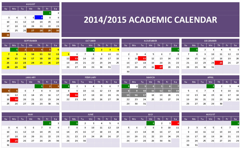 Academic Calendar Templates Resume Template Ideas