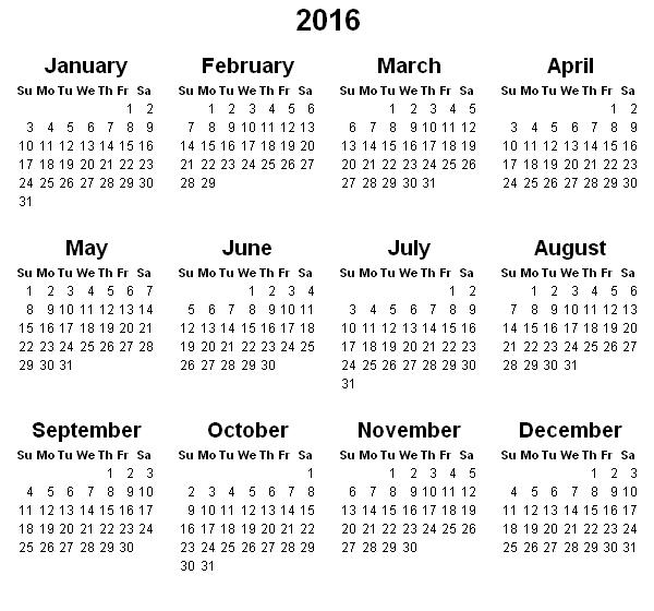 calendar for 2016 latest calendar